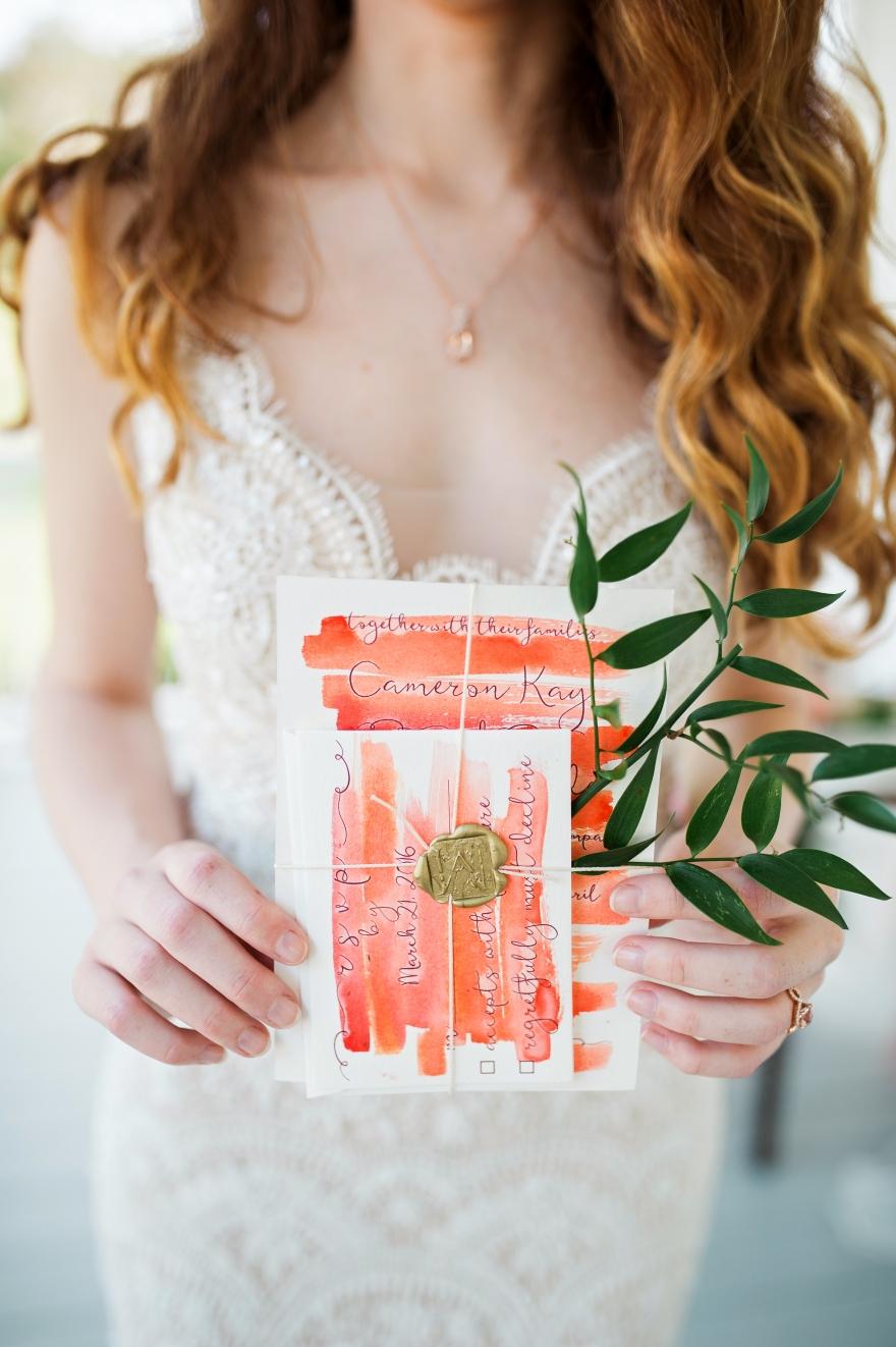 Bride with invitaton